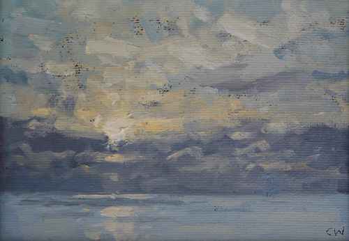 'Last light over the sea' Oil on Paper 11x16cm