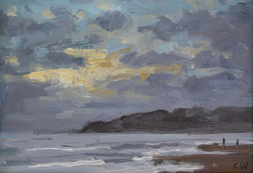 'Fading light, Charmouth' Oil on Paper 11x16cm