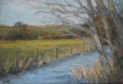 'The river at Frampton' Oil on Paper 11x16cm