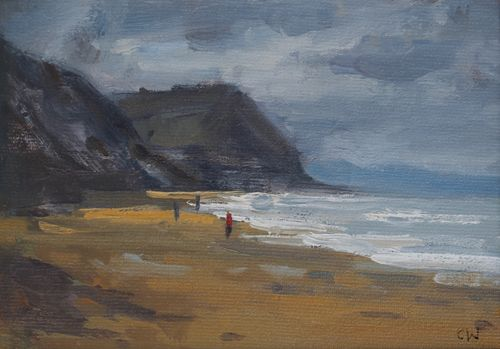 'Cold walk on Charmouth beach' Oil on Paper 11x16cm