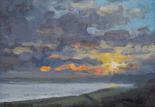 'Last light, Lyme Bay'  SOLD
