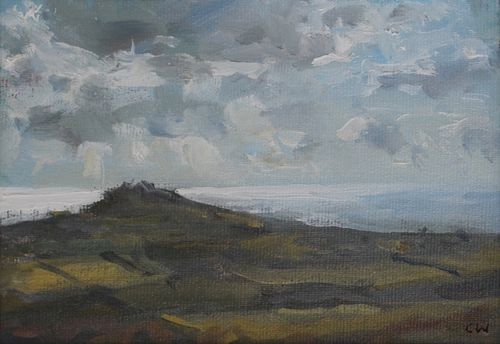 'Light on the sea near Litton Cheney' Oil on Paper 11x16cm