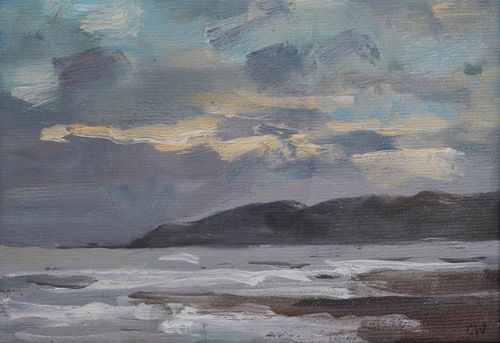 'Winter light at Charmouth' Oil on Paper 11x16cm