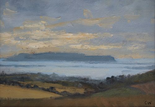 'Evening light over Portland' Oil on Paper 11x16cm