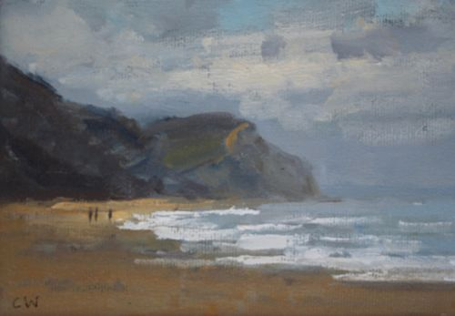 'Walking on Charmouth beach'  SOLD