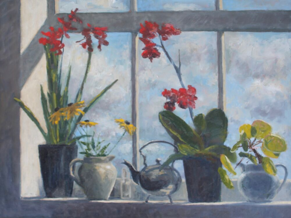 'Red orchids in the window'  Oil