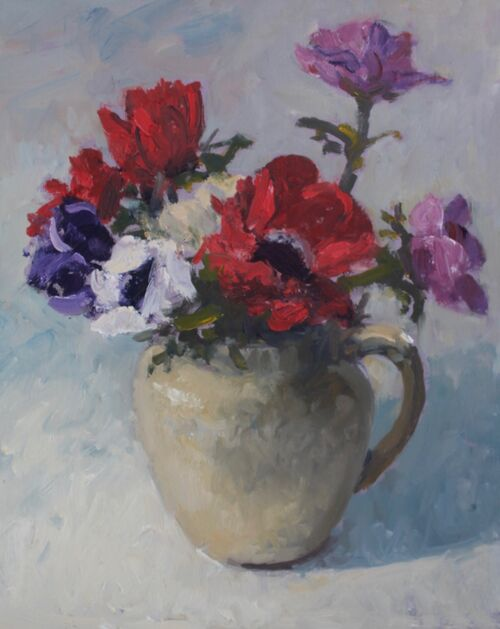 'Anemones in a cream jug' Oil 25x20cm
