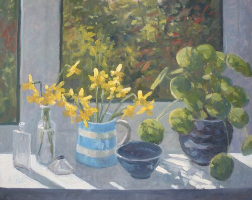 'Window sill with Daffodils' Oil 40x50cm