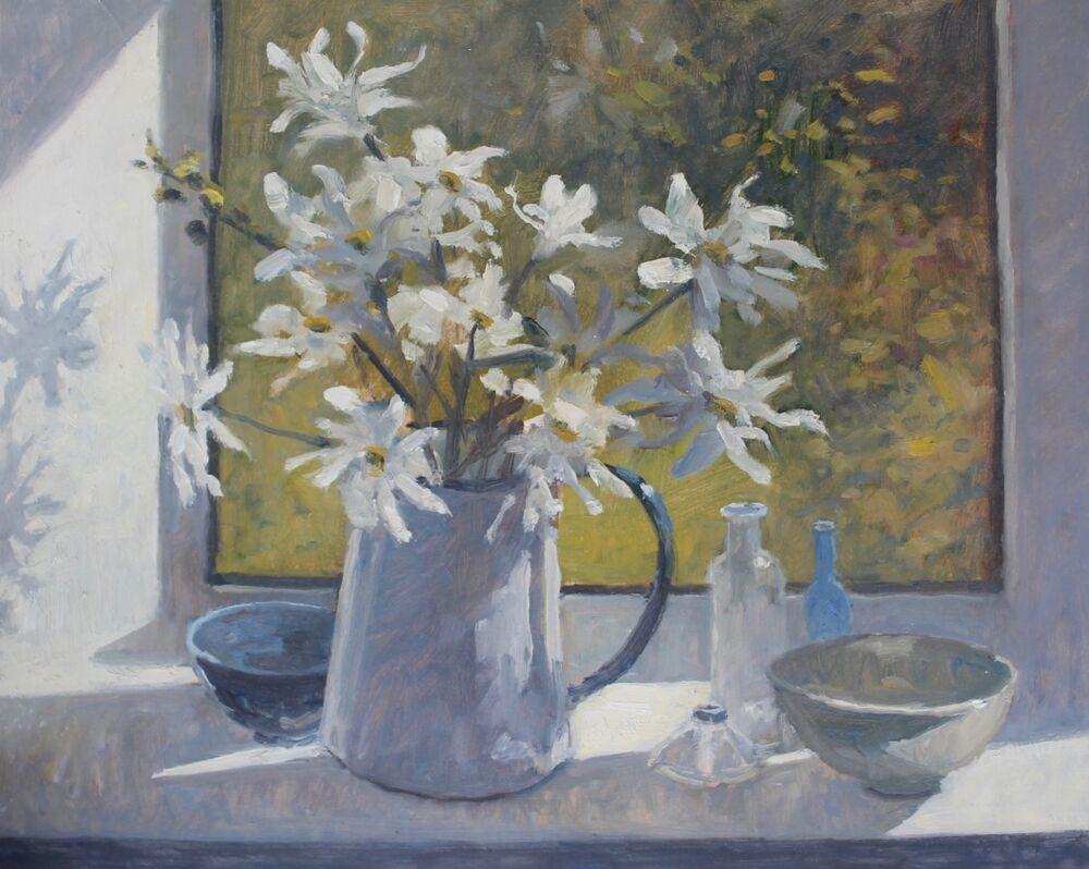 'White Marigolds in the window'   Oil    40x50cm