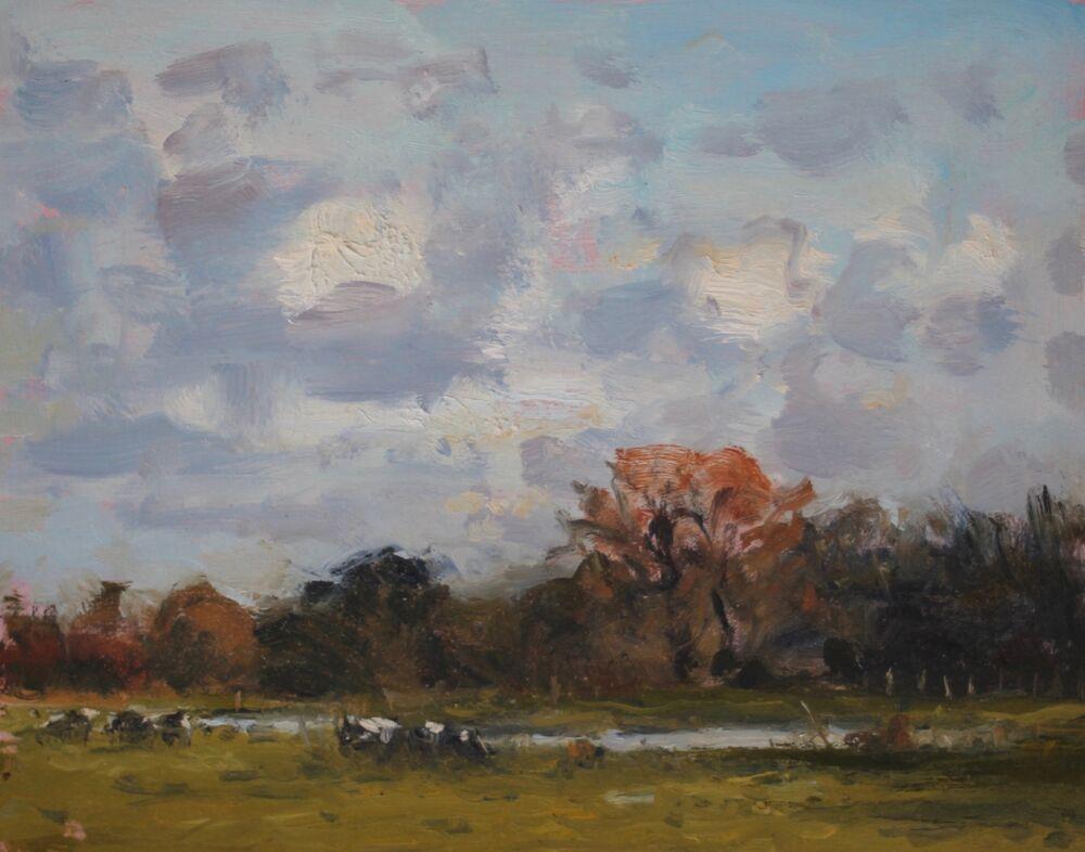 'Cows grazing near Lower Bockhampton'  Oil   20x25cm