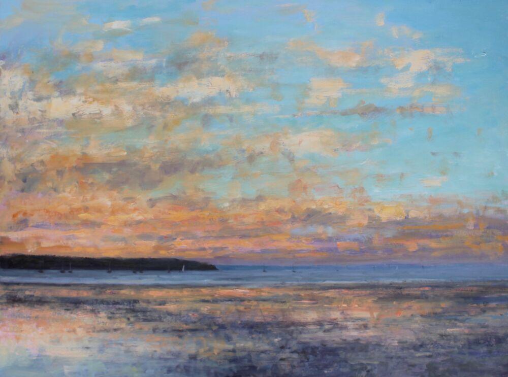 'Evening sky over Poole Harbour'   Oil    50x60cm