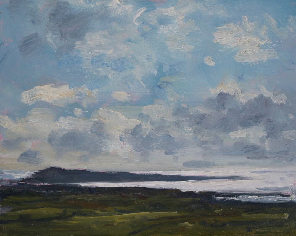 'Portland from Hardy's Monument'   Oil   20x25cm