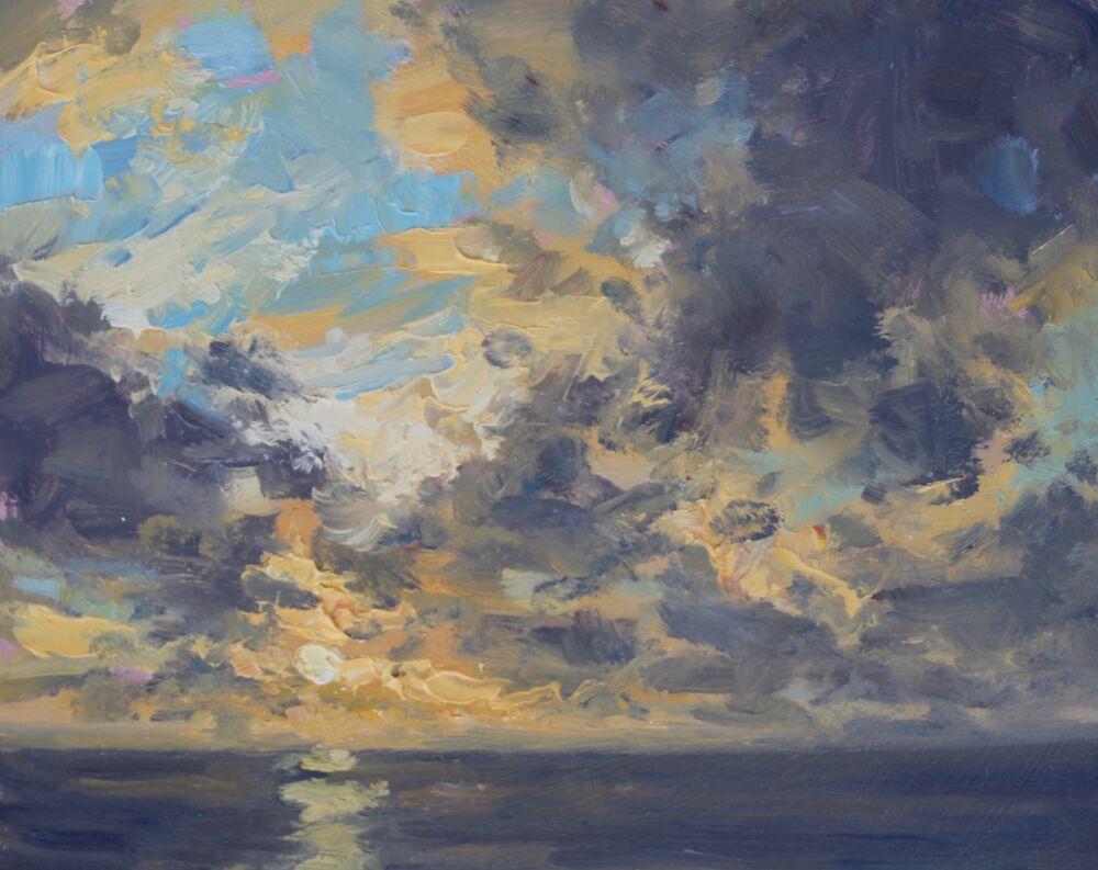 'Evening light over the sea'    Oil    20x25cm