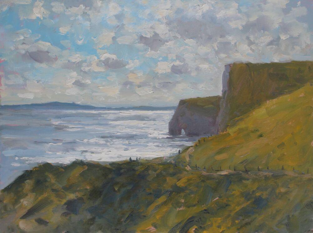 'Light on the sea, Lulworth'.      Oil.     30x40cm