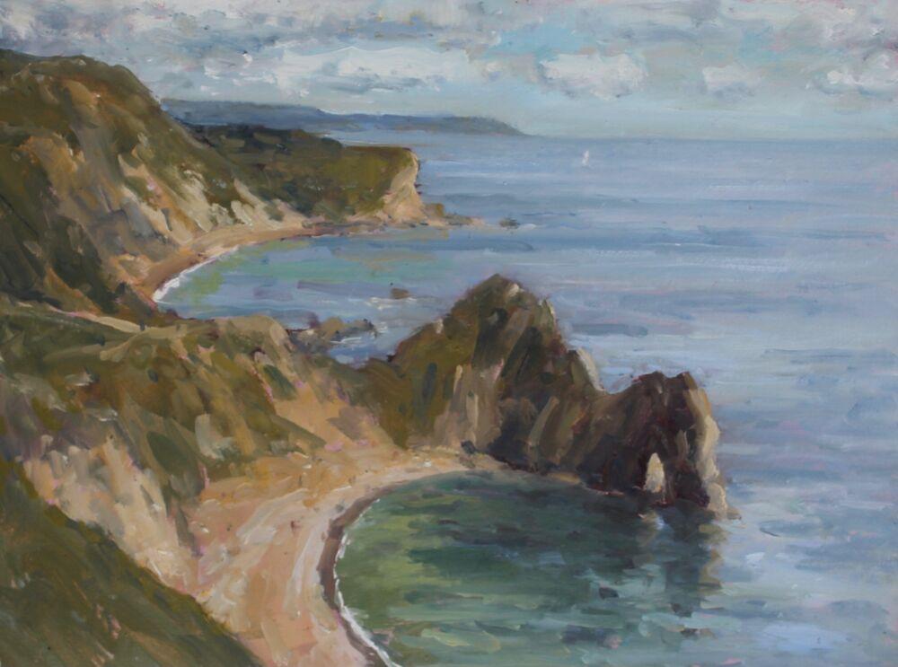 'Lulworth coastline'.      Oil.     30x40cm