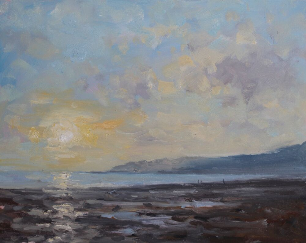 'End of the day, Charmouth'.    Oil.     20x25cm
