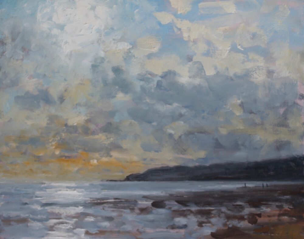 'Afternoon light, Charmouth'.    Oil.   20x25cm