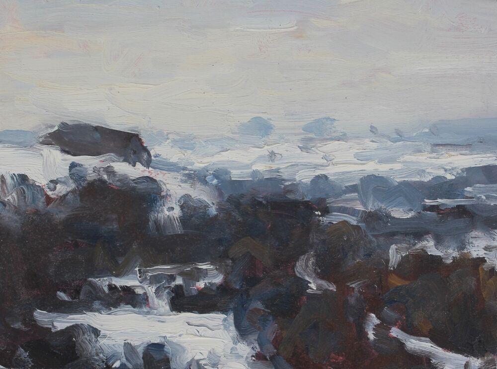 'Snow at Poundbury Hillfort'.      Oil.       15x20cm