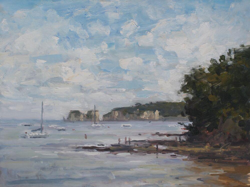 'Boats at Studland'.       Oil.        30x40cm.
