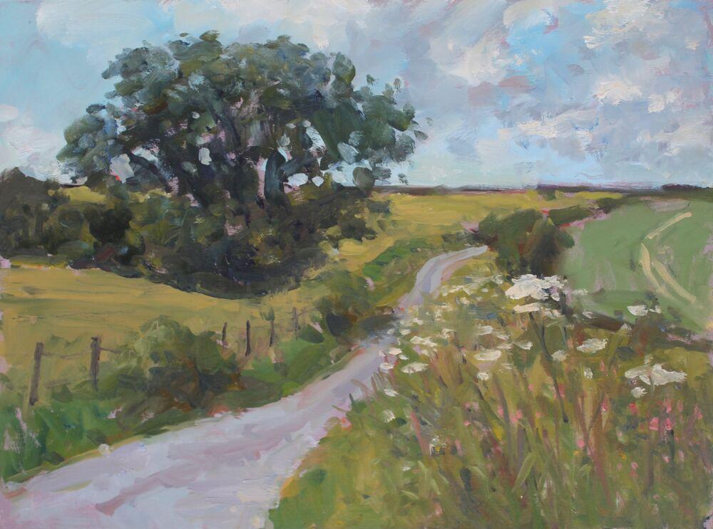 'Dorset Road'.      Oil.     30x40cm