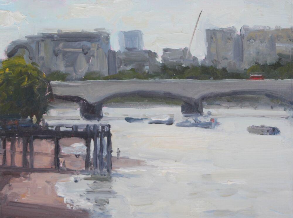 'Waterloo Bridge'.     Oil      15x20cm