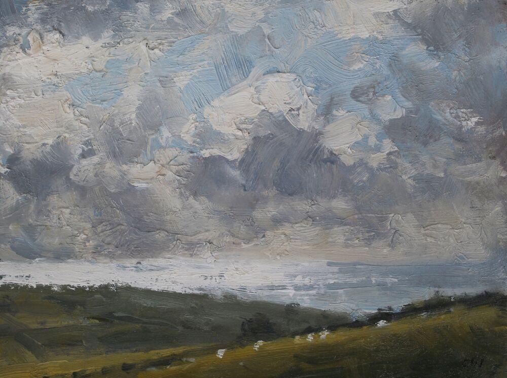 'Sun on the sea and sheep'.      Oil      13x17cm
