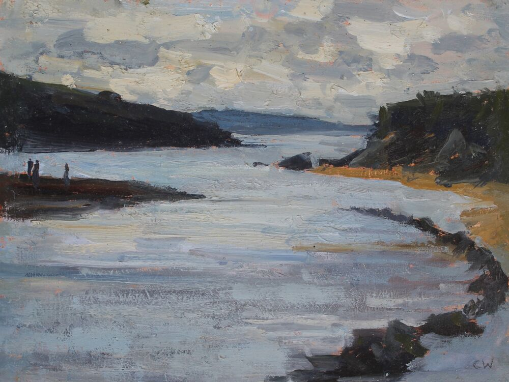 'High tide, Porth Beach'.    Oil.    15x20cm