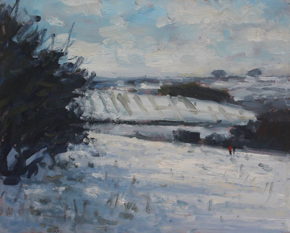 'Walking in the snow'.   Oil.    20x25cm