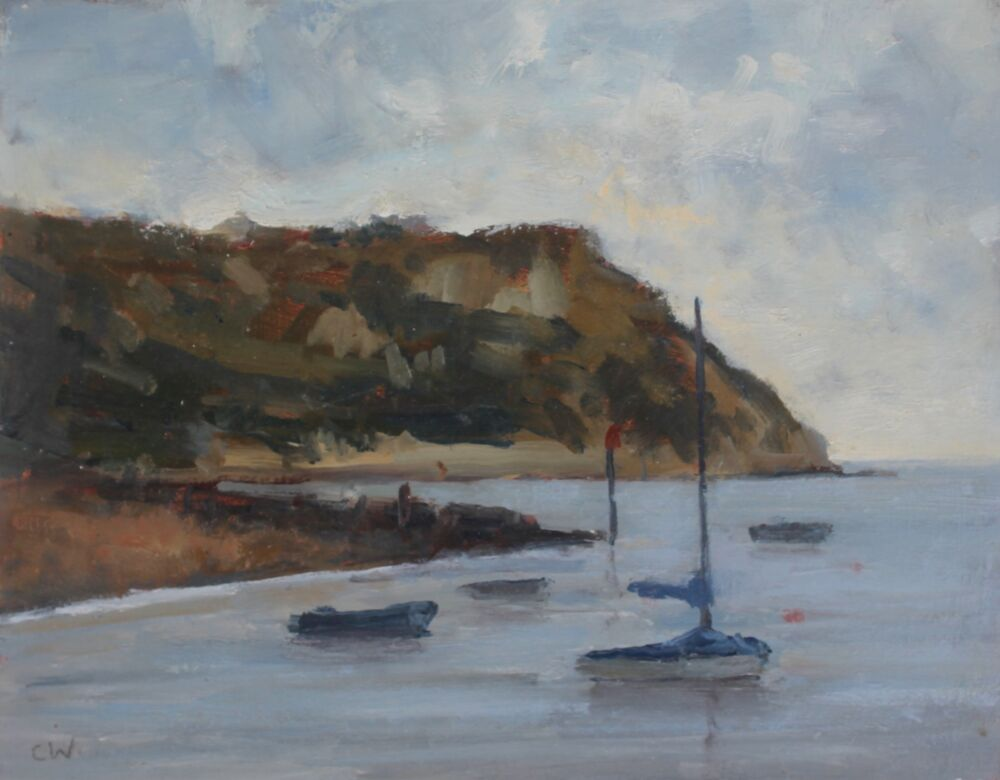 'Boats at Ringstead'.     Oil.    20x25cm