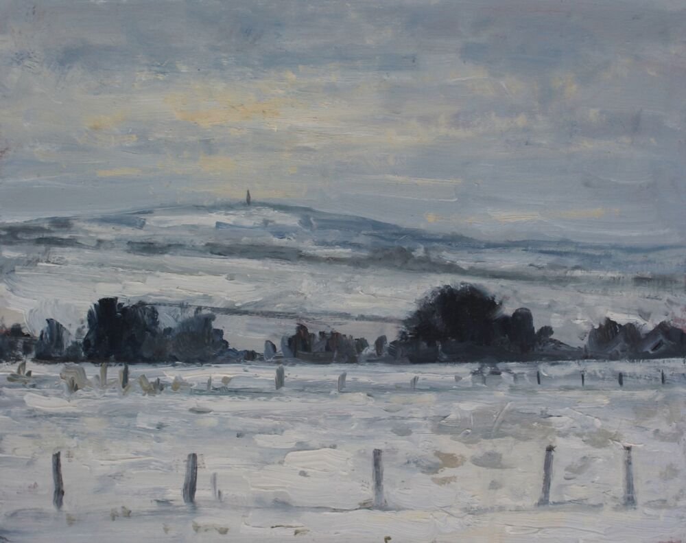 'View to Hardy's Monument in the snow'.   Oil.   20x25cm