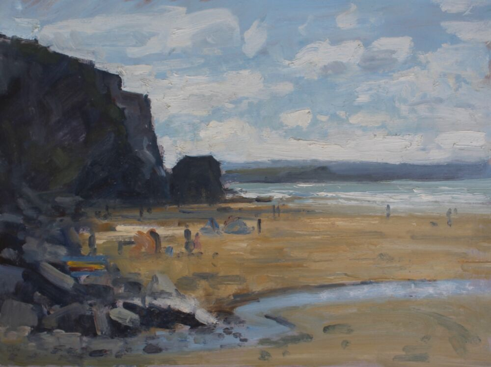 'On the beach at Watergate Bay'.    Oil.   30x40cm