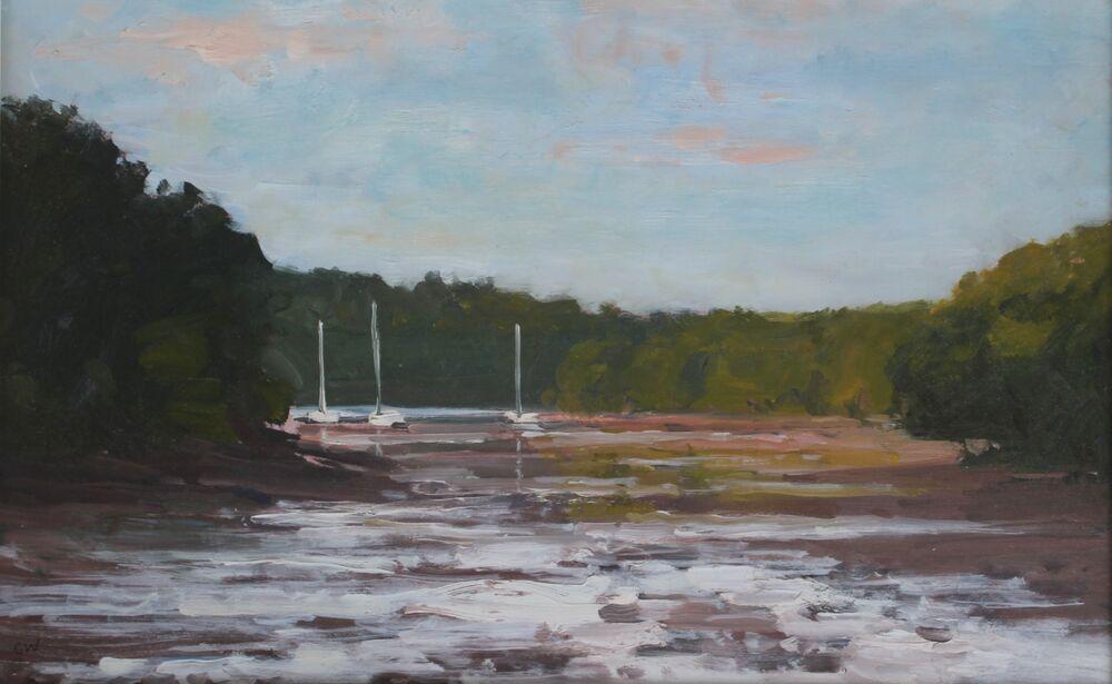 'Boats near Dittisham'.     Oil.      28x40cm