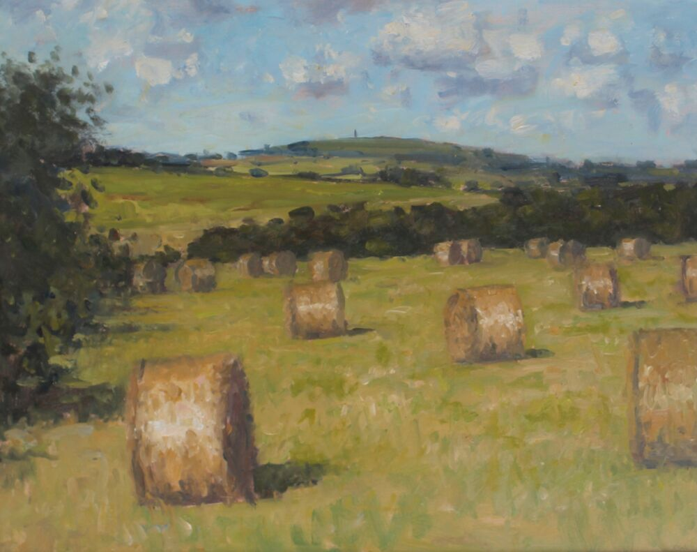 'Hay Bales and Hardy's Monument'.  Oil.   40x50cm