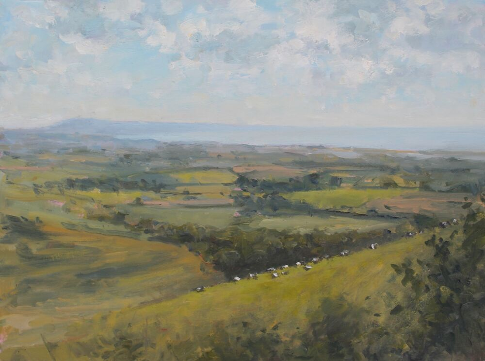 'Cows grazing and Portland'.   Oil.  30x40cm