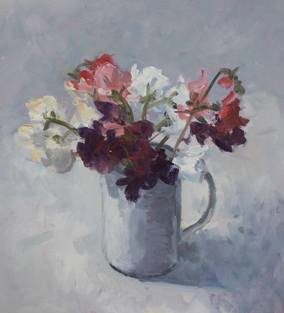 'Sweet Peas in a white jug'.   Oil.  28x30cm
