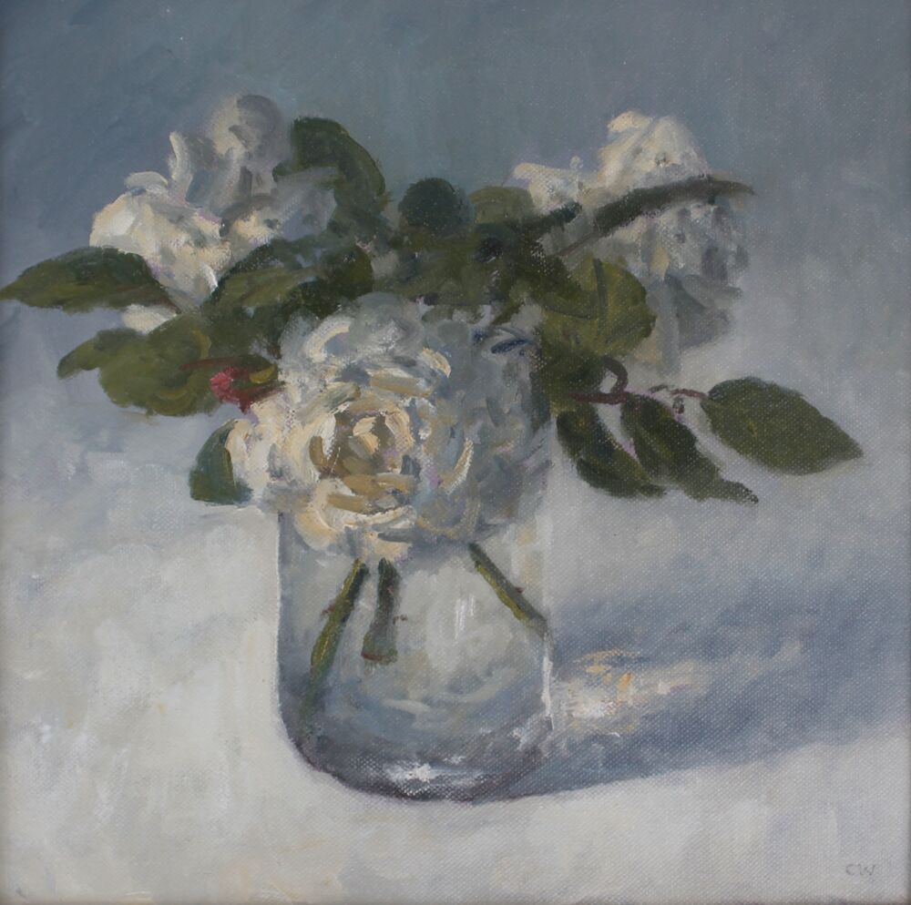 'White roses in a glass Jar'.    Oil.   30x30cm