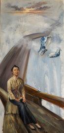 The long bridge home, oil on canvas, 120 x 70 cms