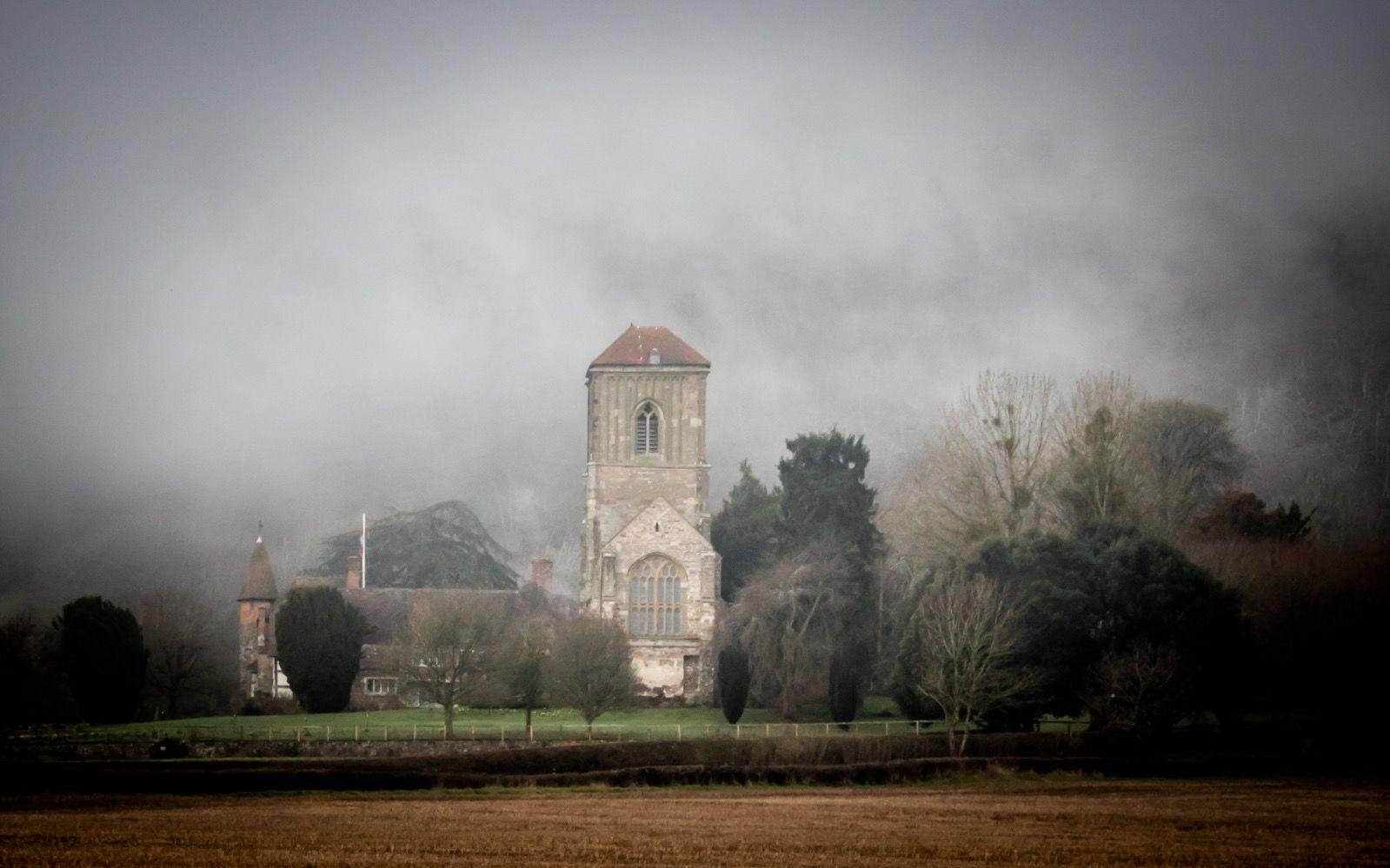 Mist over Little Malvern Priory