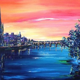 "Dusk on Perth and the Tay - Acrylic on Canvas - 16"" x 20"""