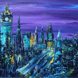 The Balmoral's Purple Cloak - The Balmoral Hotel to Princes Street in a typical Edinburgh nightfall dusk