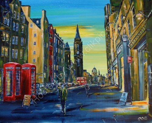 """Royal Mile Dusk - Acrylic on Canvas - 16"""" x 20"""""""