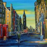 "Royal Mile Dusk - Acrylic on Canvas - 16"" x 20"""