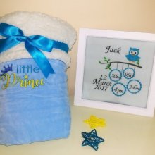 Fluffy Embroidered baby blanket