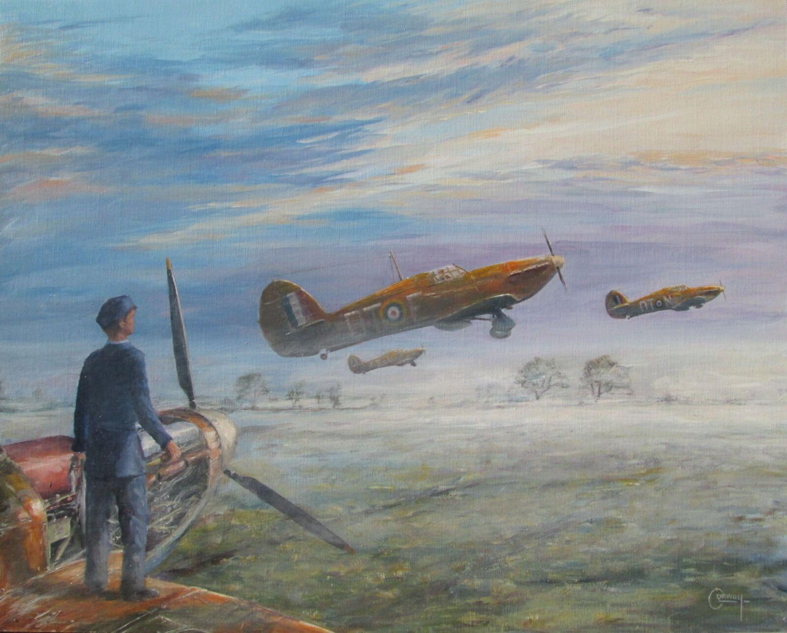 'Long Day Ahead' - Hurricanes of Sgt. Alexander George Girdwood, and F/Lt. Hugh Richard Aden Beresford of No. 257 Squadron