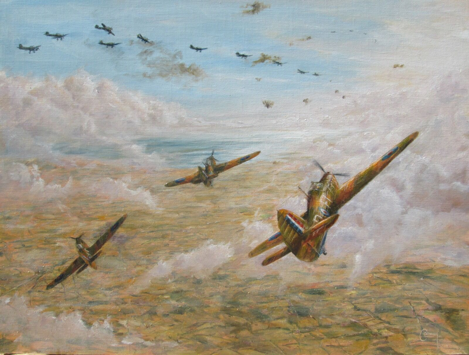 'The Fighting Cocks Attack'- Hurricanes of No. 43 Squadron