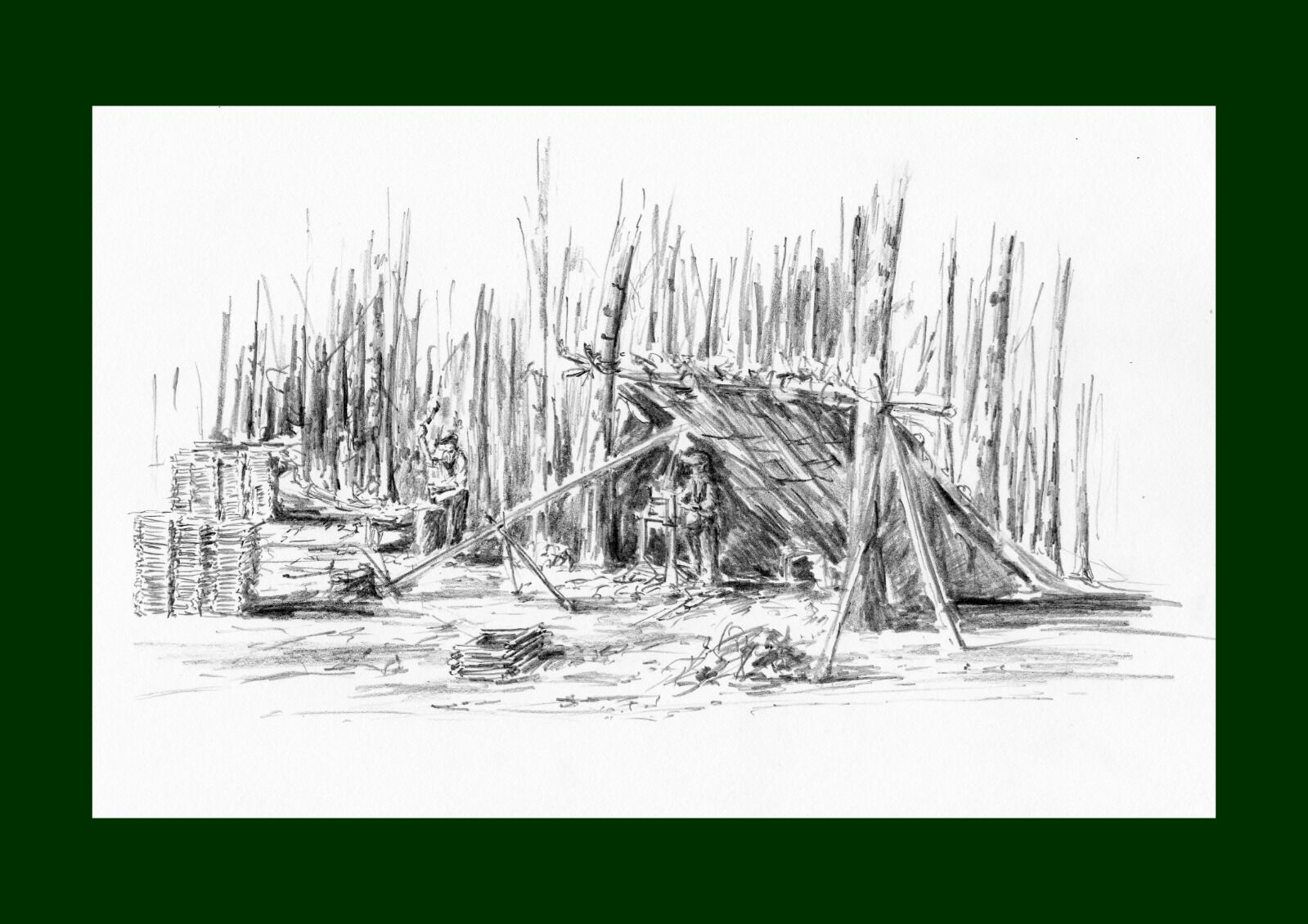 A typical woodland camp such as Whall might have worked in before the war