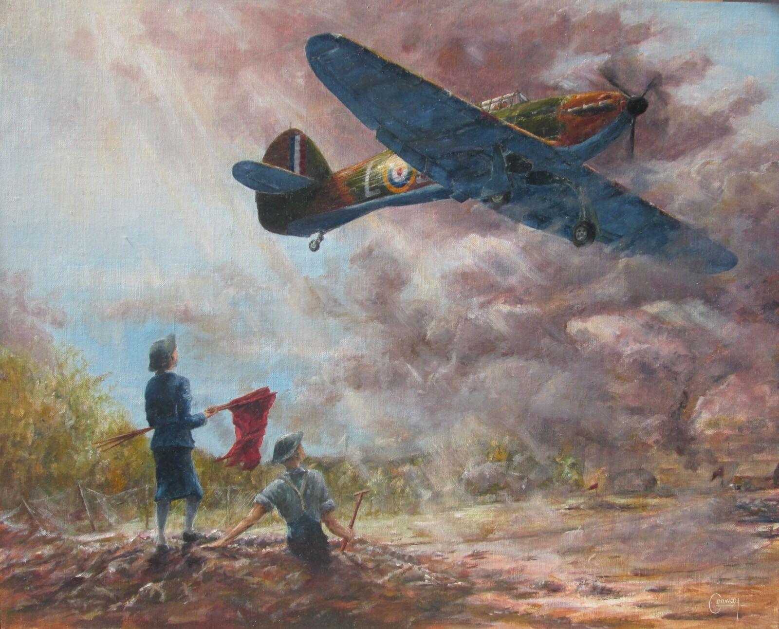 'Red Flags for UXBs' - WAAF Sgt. Joan Elizabeth Mortimer and F/Sgt. Joe Hunt watch Hurricane of P/O.Boleslaw Andrzej Wlasnowolski, No. 32 Squadron Landing