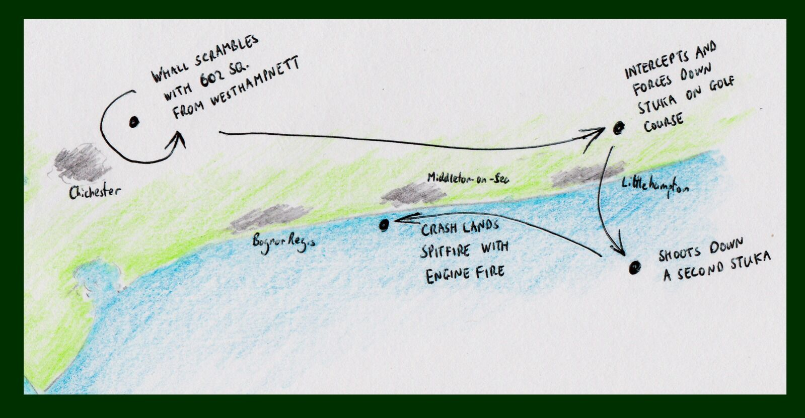 Sketch map showing Whall's flight