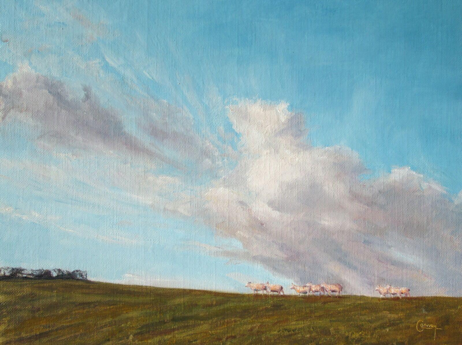Painting of sheep walking along skyline.