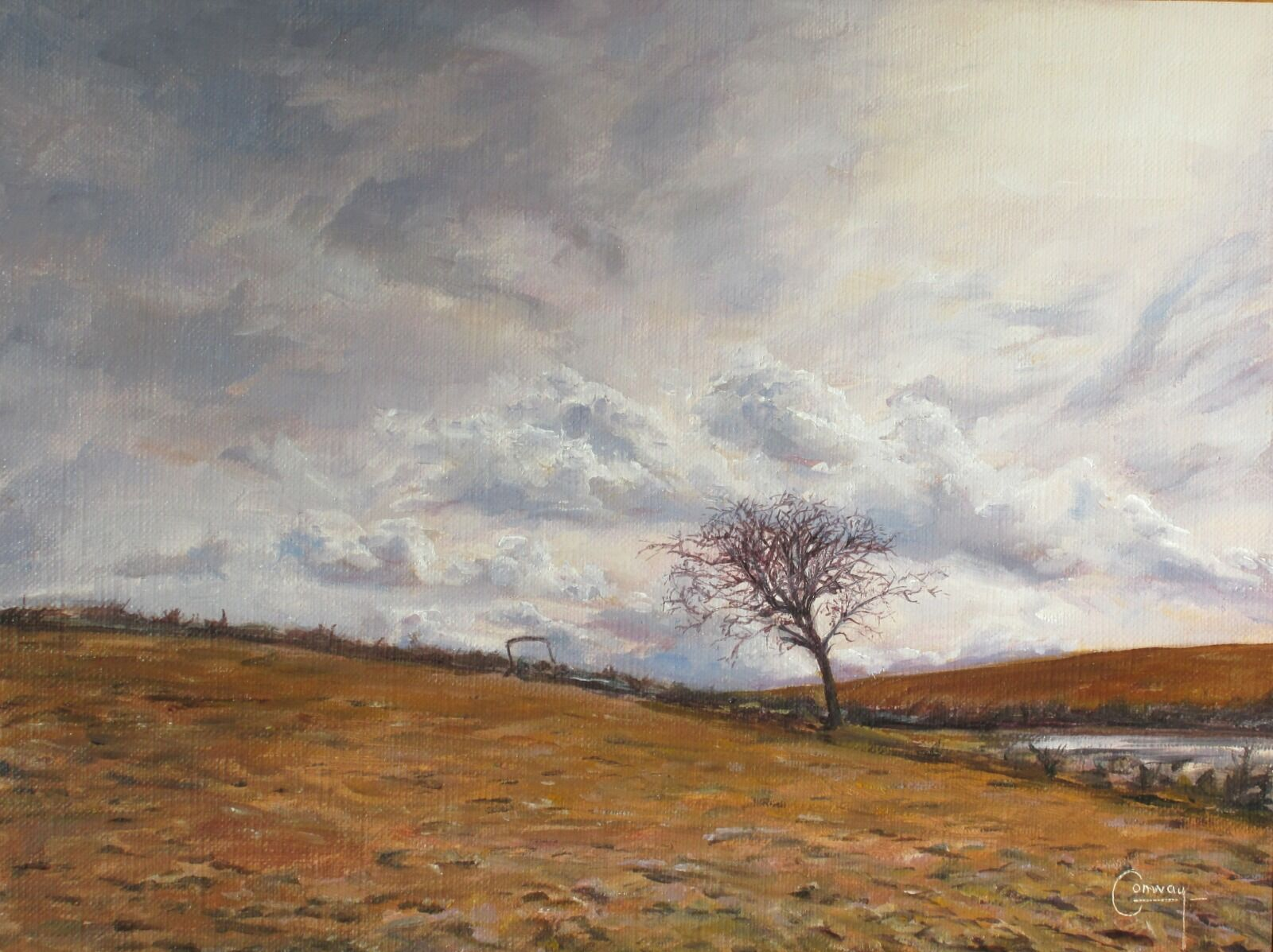Painting of a thorn tree and abandoned farm machine on a hill top.